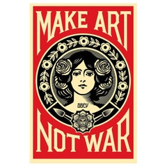 Lithography on Speckle Tone Cream Paper 'Make Art Not War' Shepard Fairey 2019