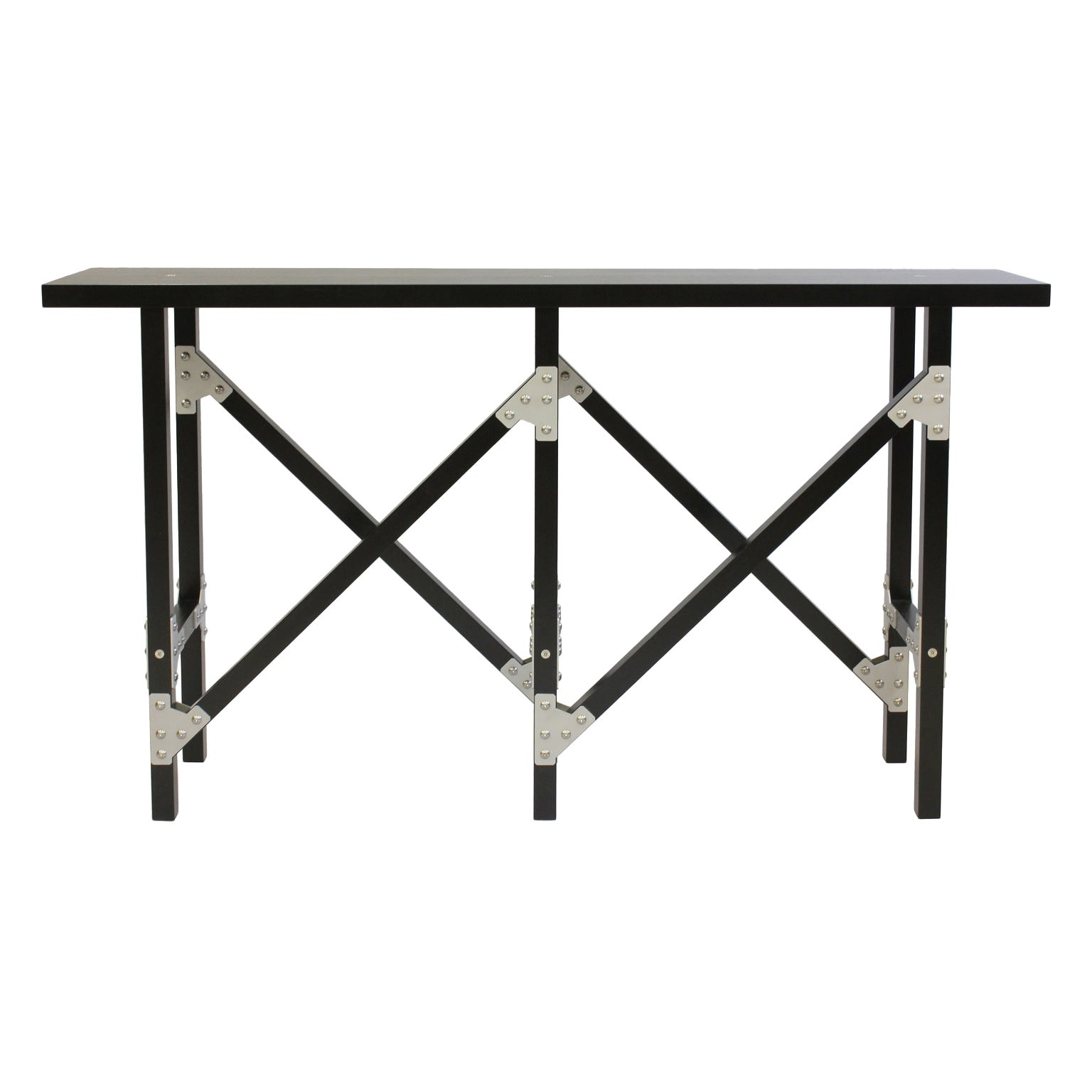 Modern Industrial Hall Table in Black Wood with Metal Brackets