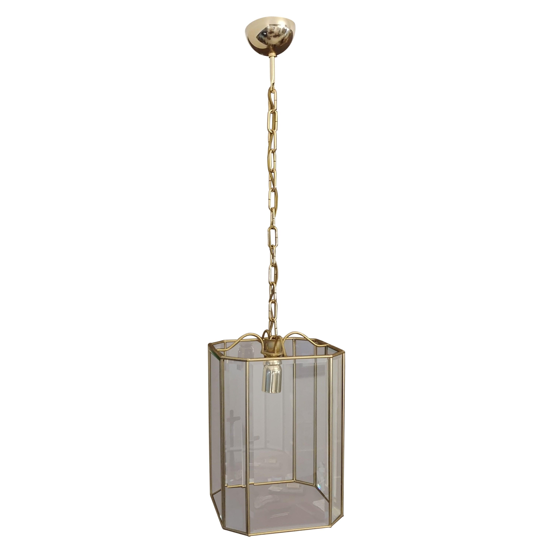 Mid Century Chandelier in Brass and Glass, Italian Design 1970s
