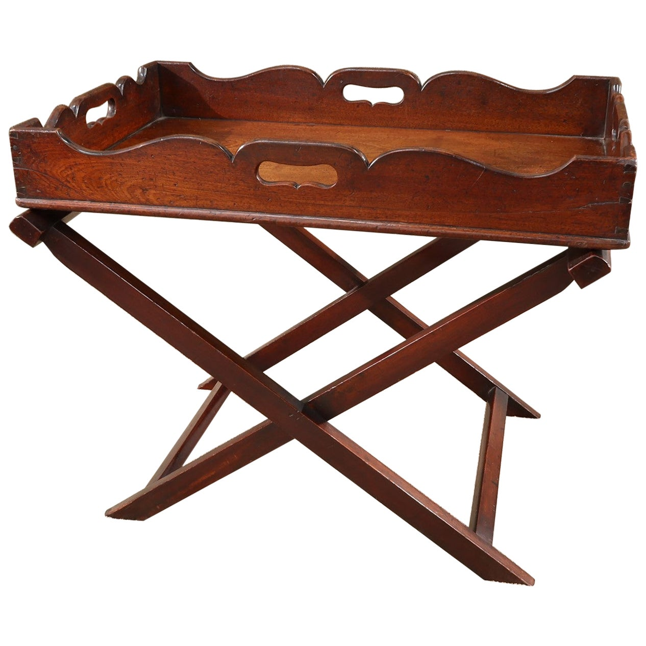 English Mahogany Butler Tray on Coffee Table Height Stand, circa 1780