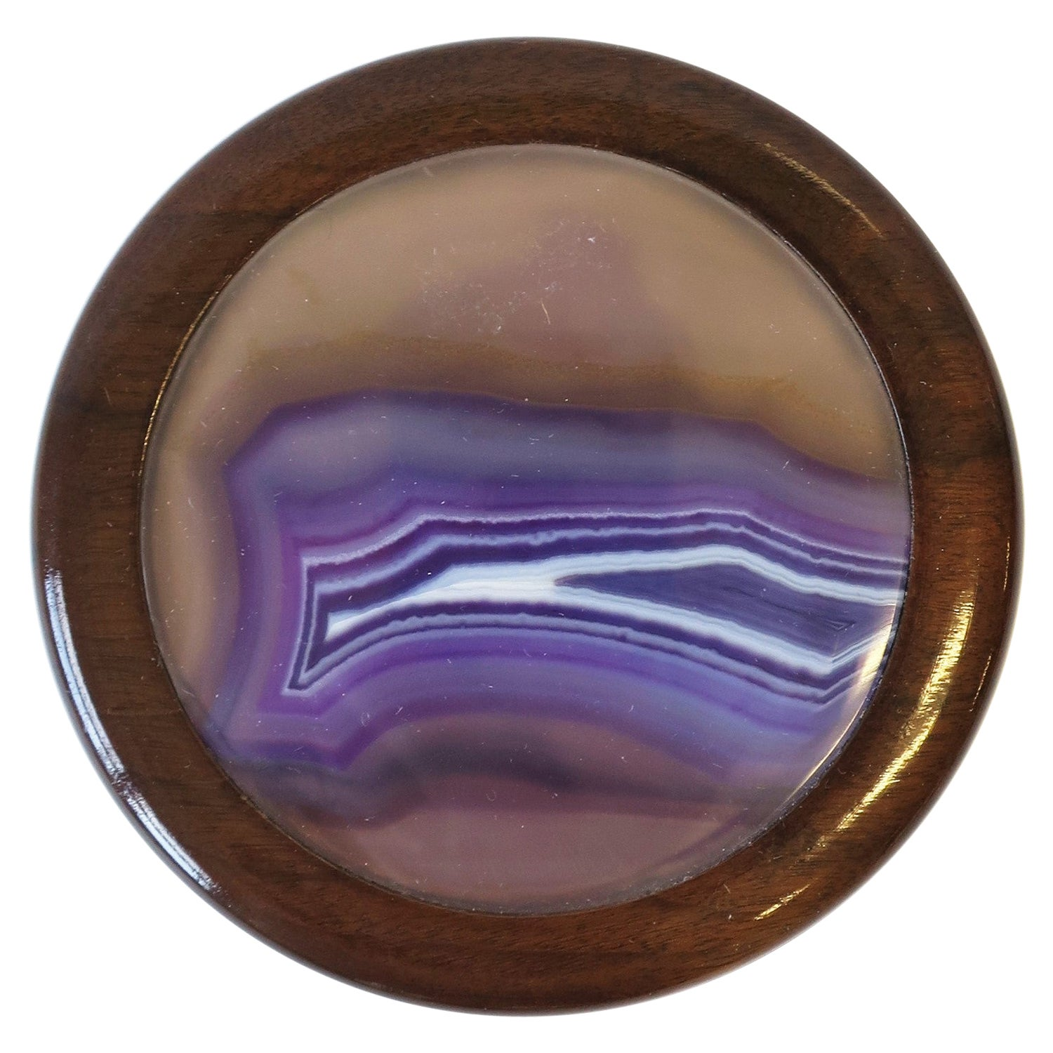 Wood and Onyx Agate Geode Round Jewelry or Trinket Box