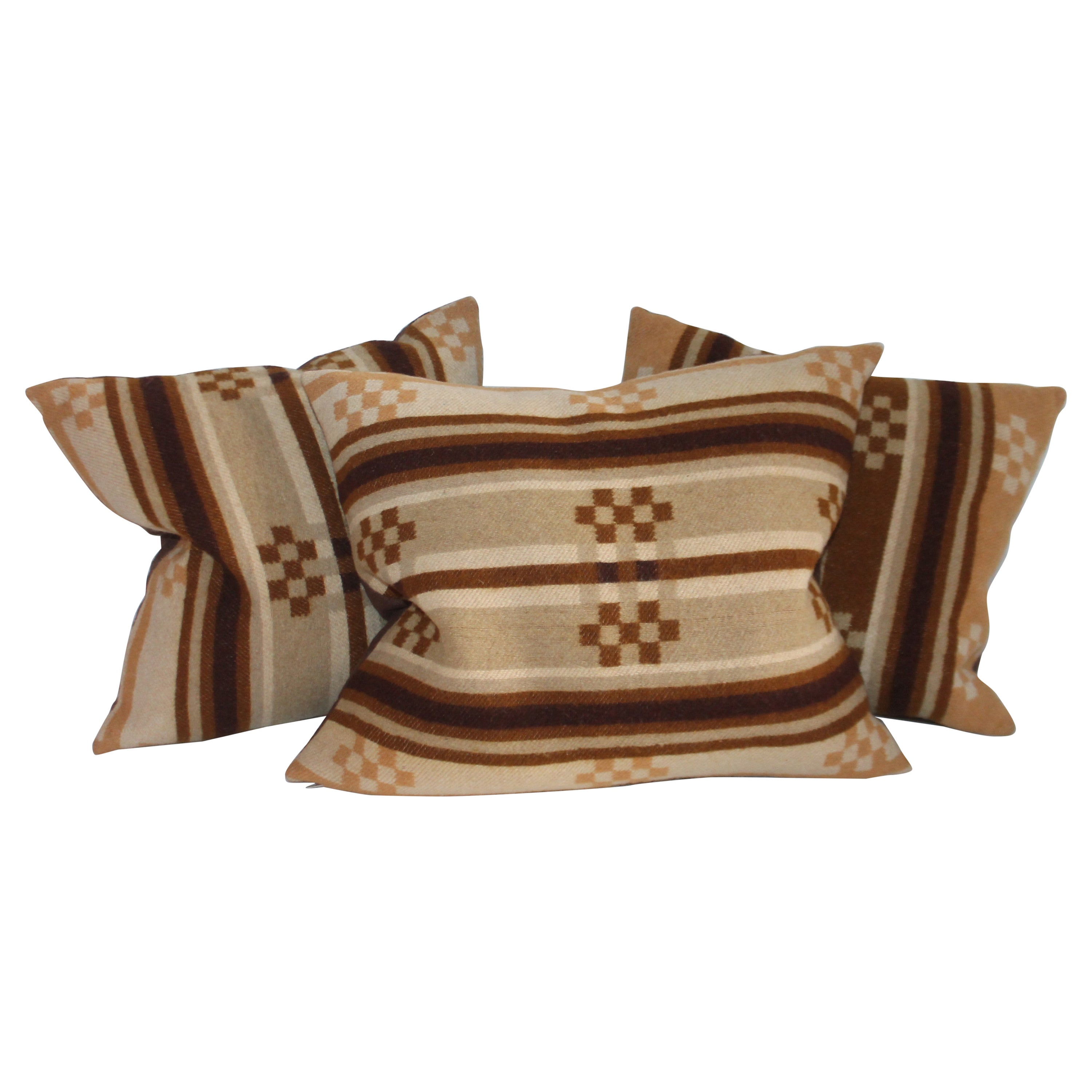 Collection of Three Horse Blanket Pillows