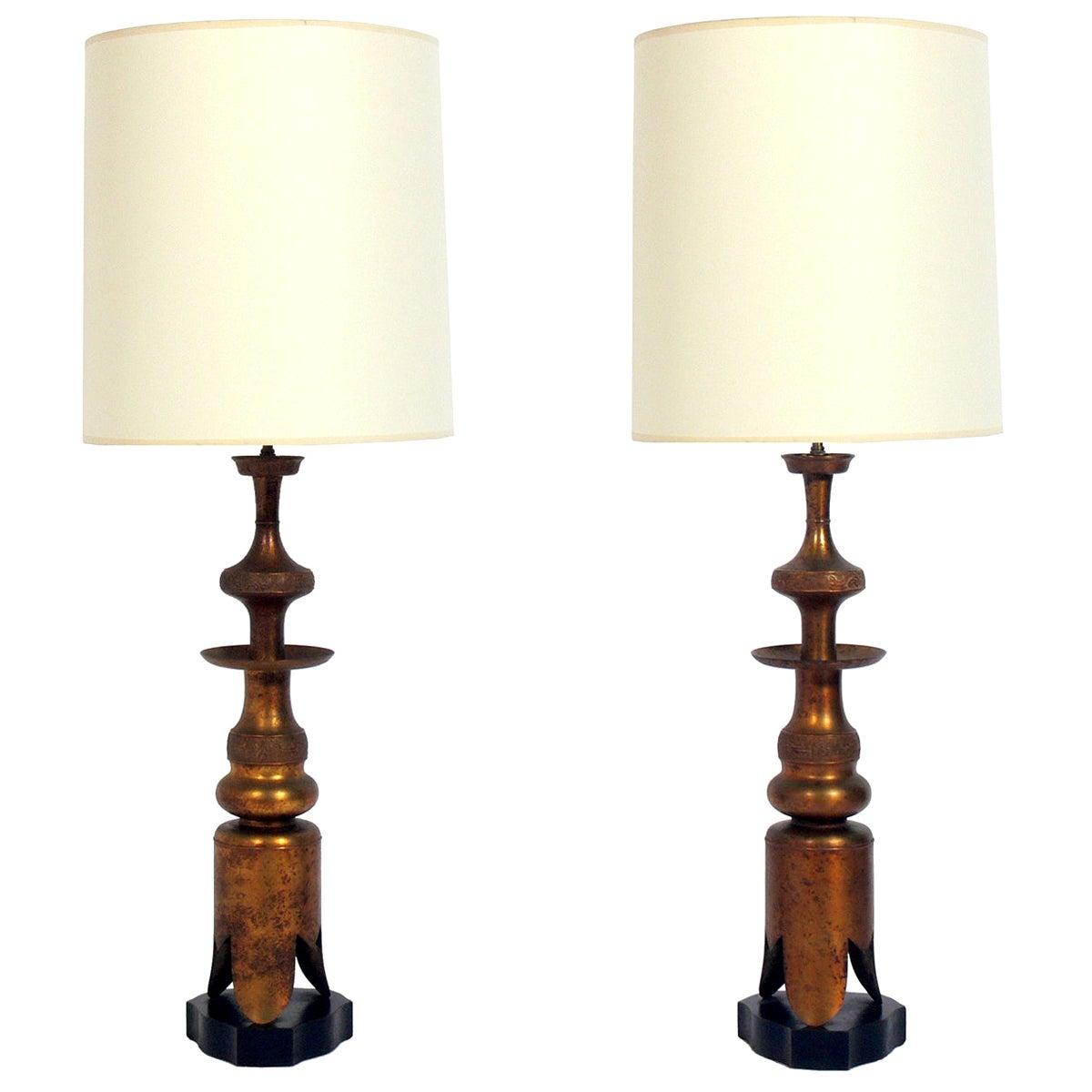 Pair of Asian Gilt Metal Lamps