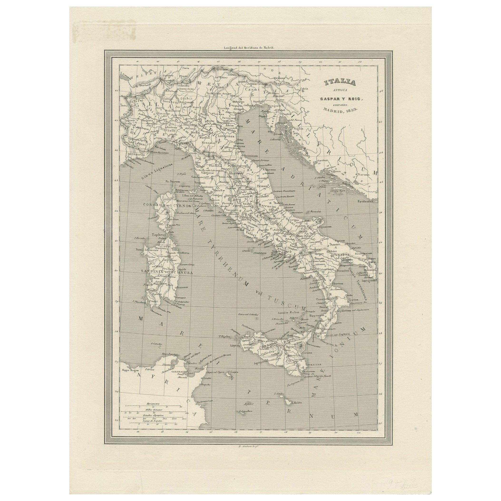 Antique Map of Italy by Gaspar y Roig, 1852