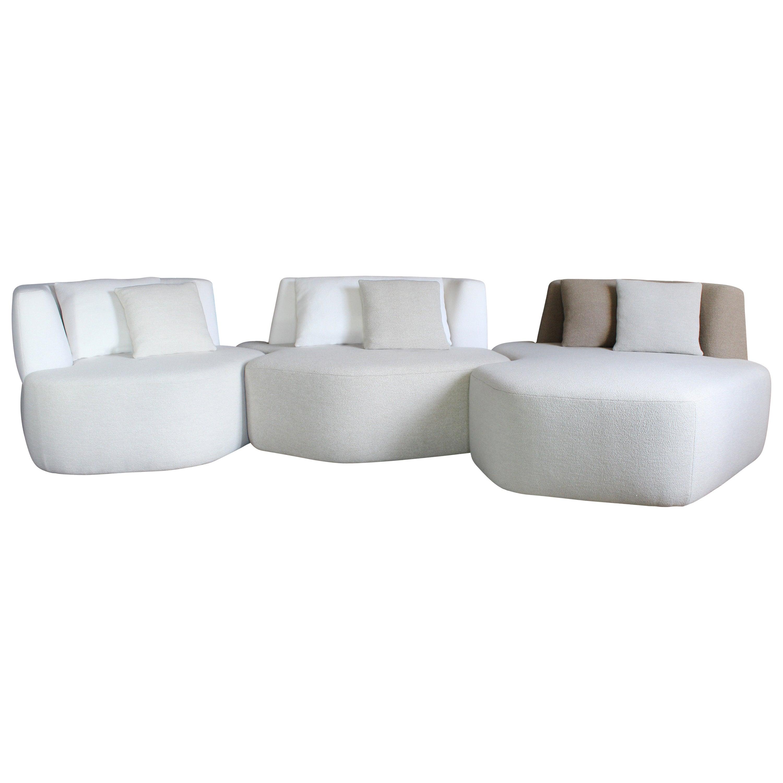 Organic Sofa Pierre in White, Cream, Brown Wool made in France customizable