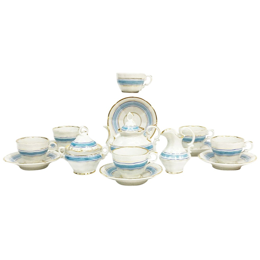 19th Century Miniature Childs Porcelain Tea Service