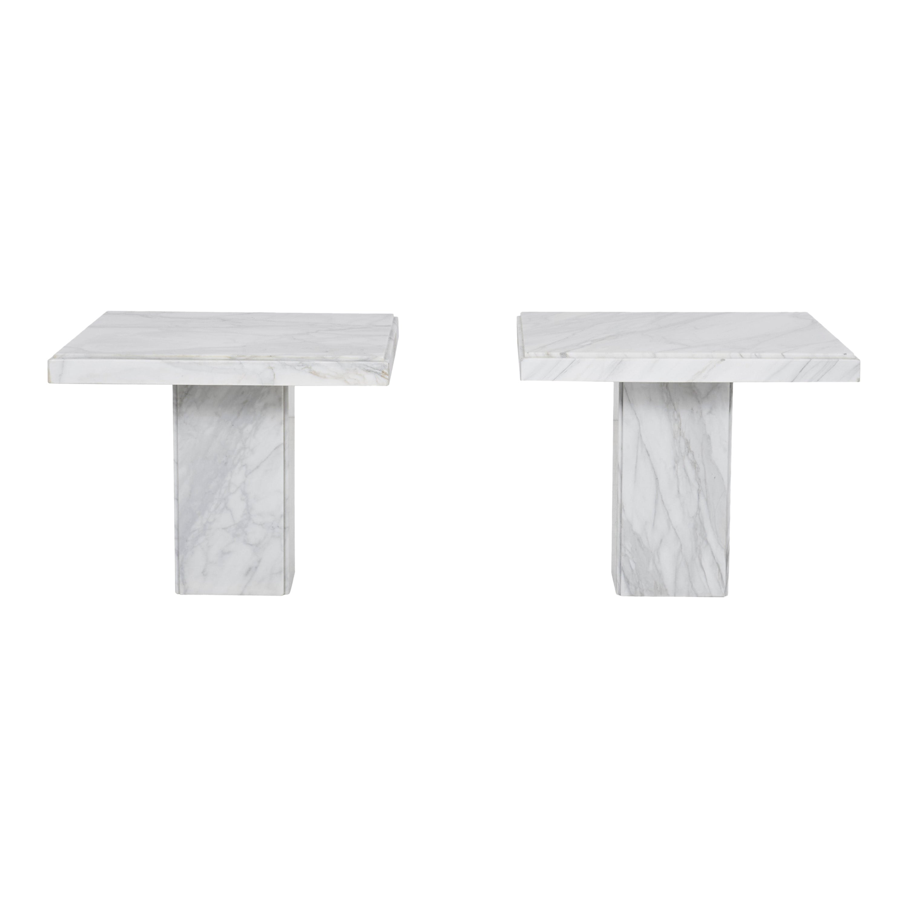 Pair of Carrara Marble End Tables