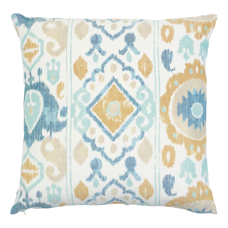 Schumacher Elizia Ikat Sky Ochre Two-Sided Cotton Linen Pillow