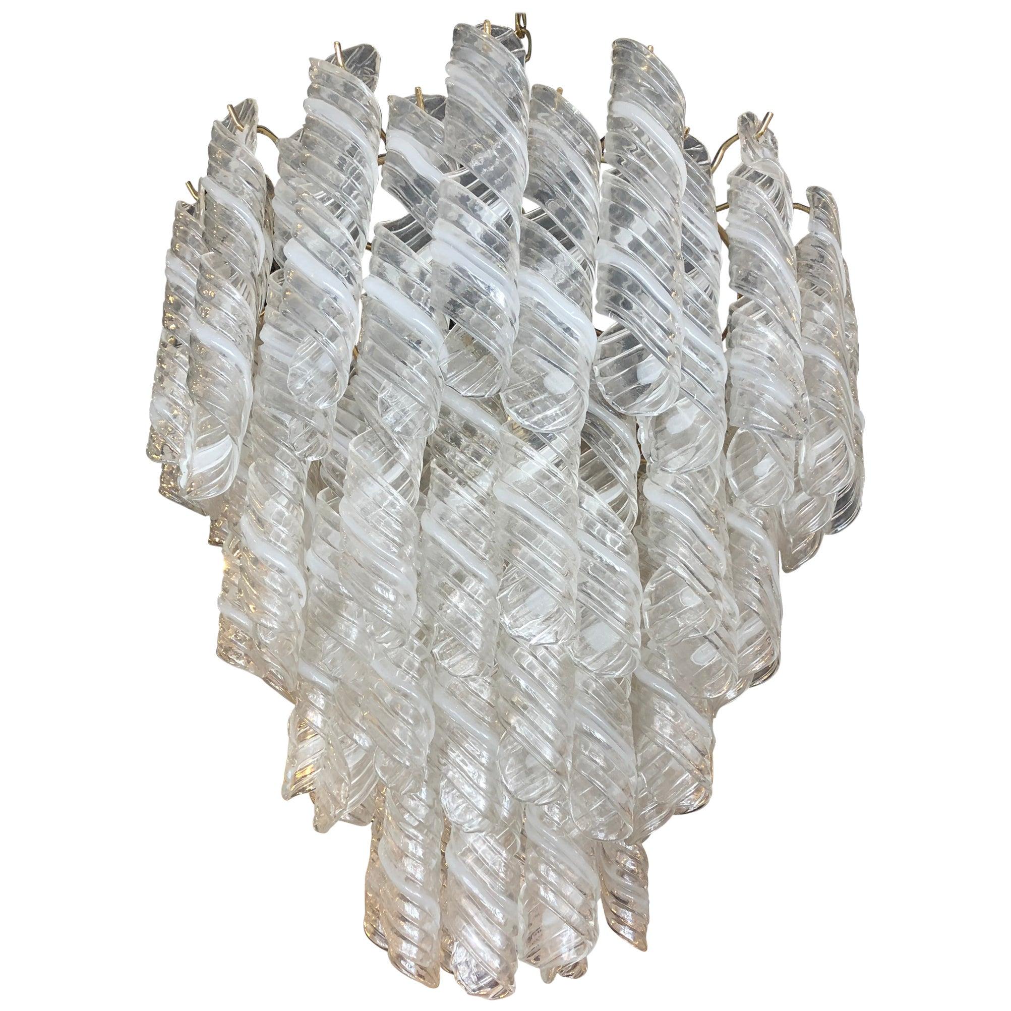 Italian Modern Hand Blown Glass and Polished Nickel Chandelier, Mazzega