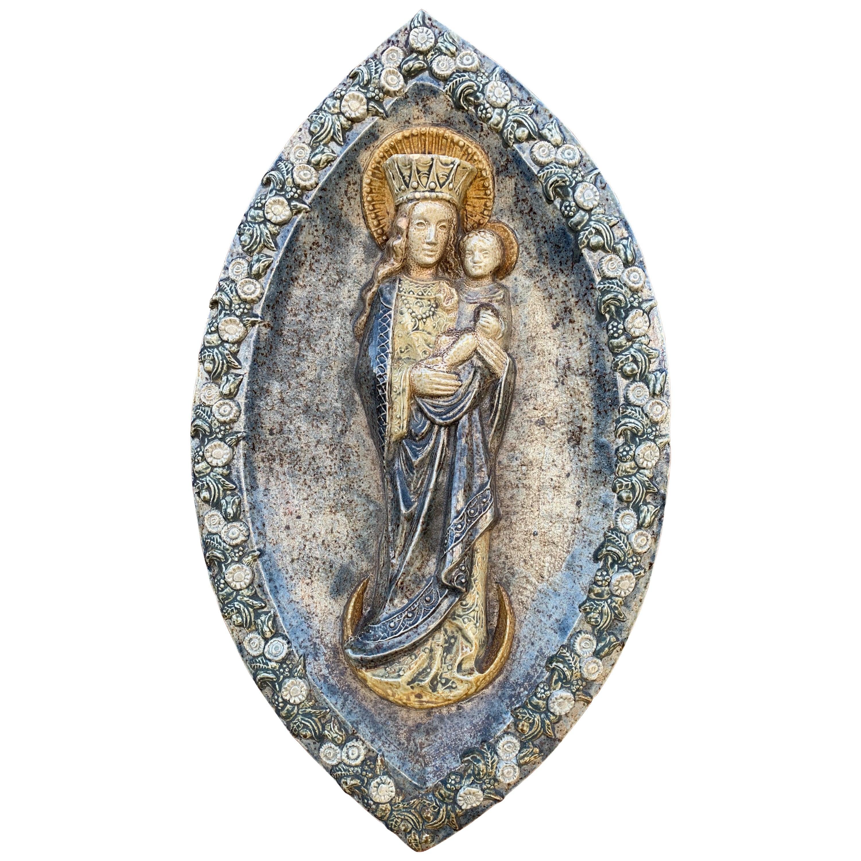Stunning & Large, Glazed Ceramic Virgin Mary & Child Jesus Wall Plaque Sculpture