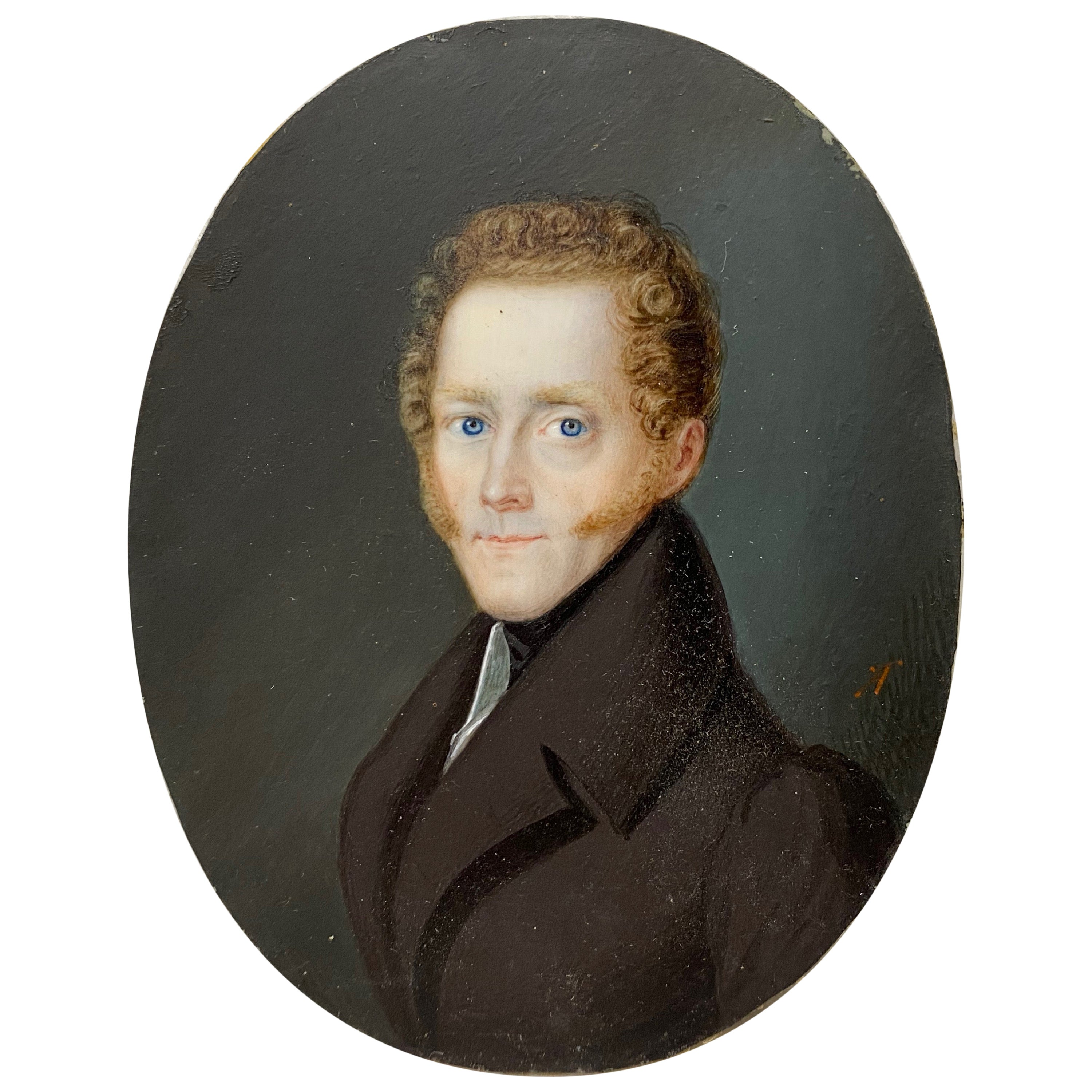 19th Century Portrait Miniature of a Young Man with Curly Red Hair