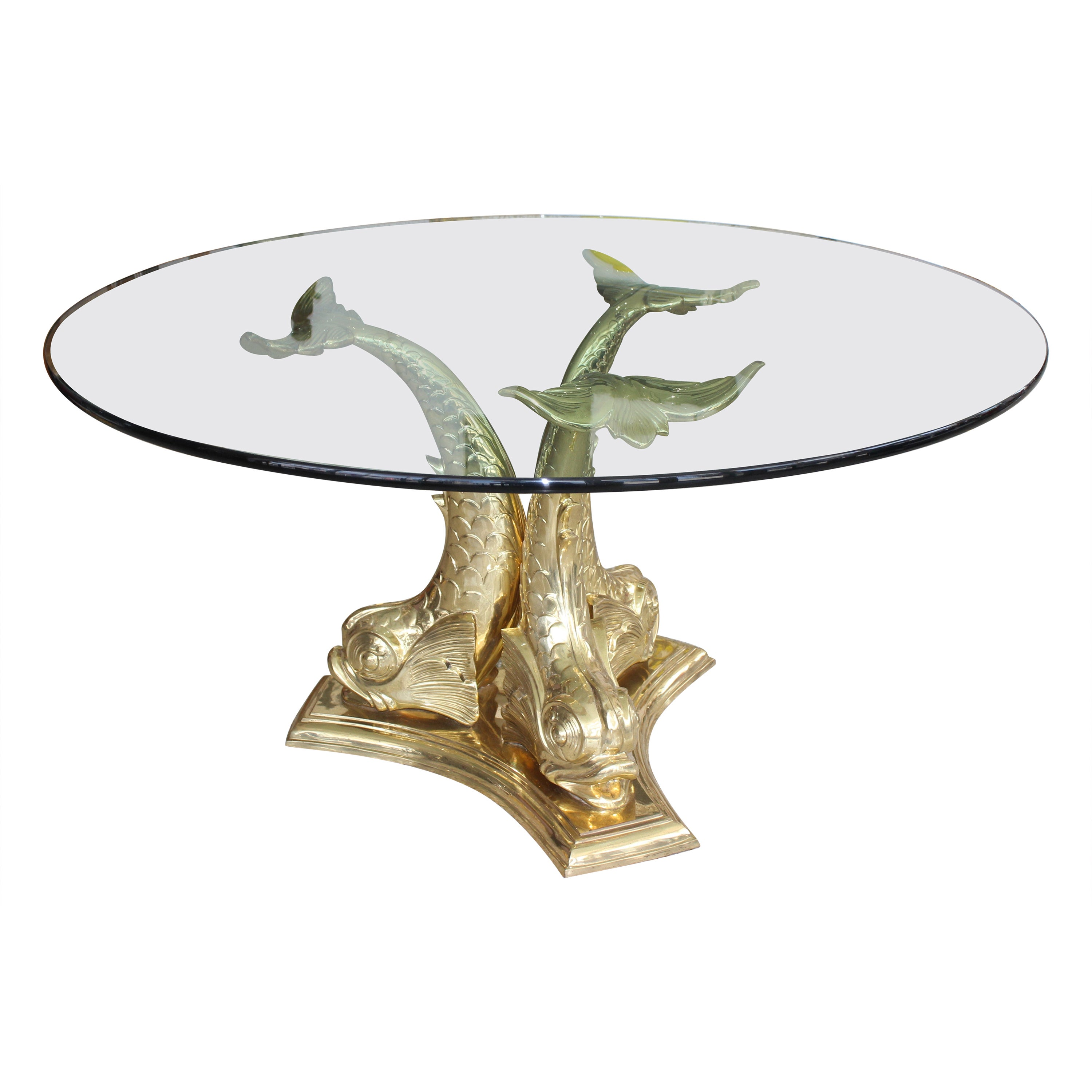 Dolphin Dining or Center Table Polished Brass and Glass