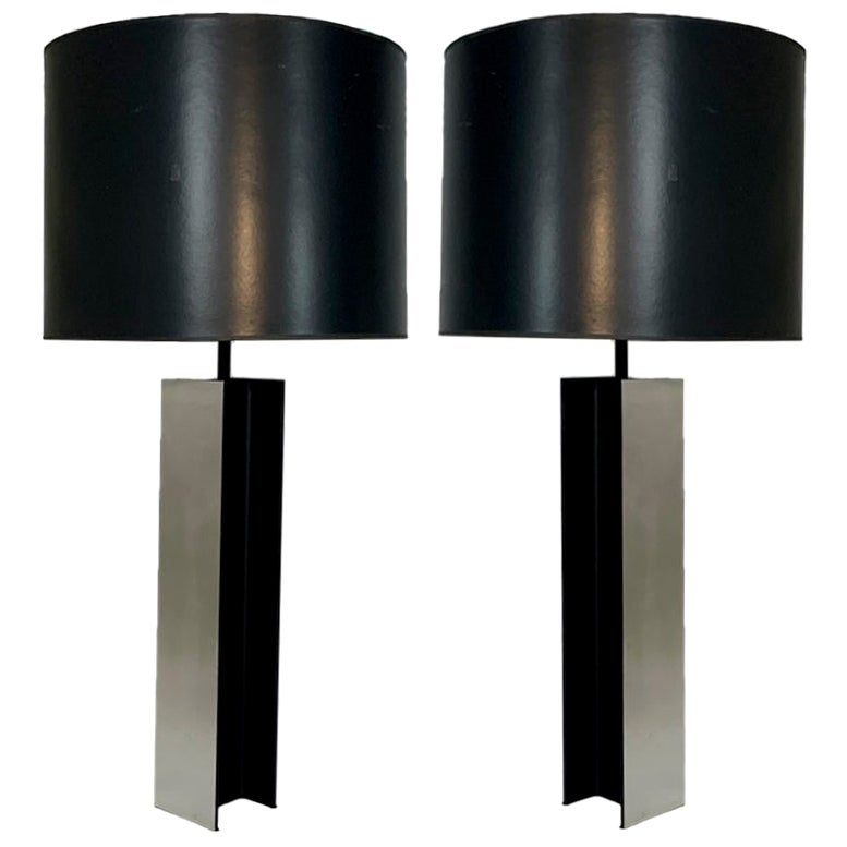 Monumental Pair of Aluminum I Beam Lamps by Laurel Lamp Company Original Shades