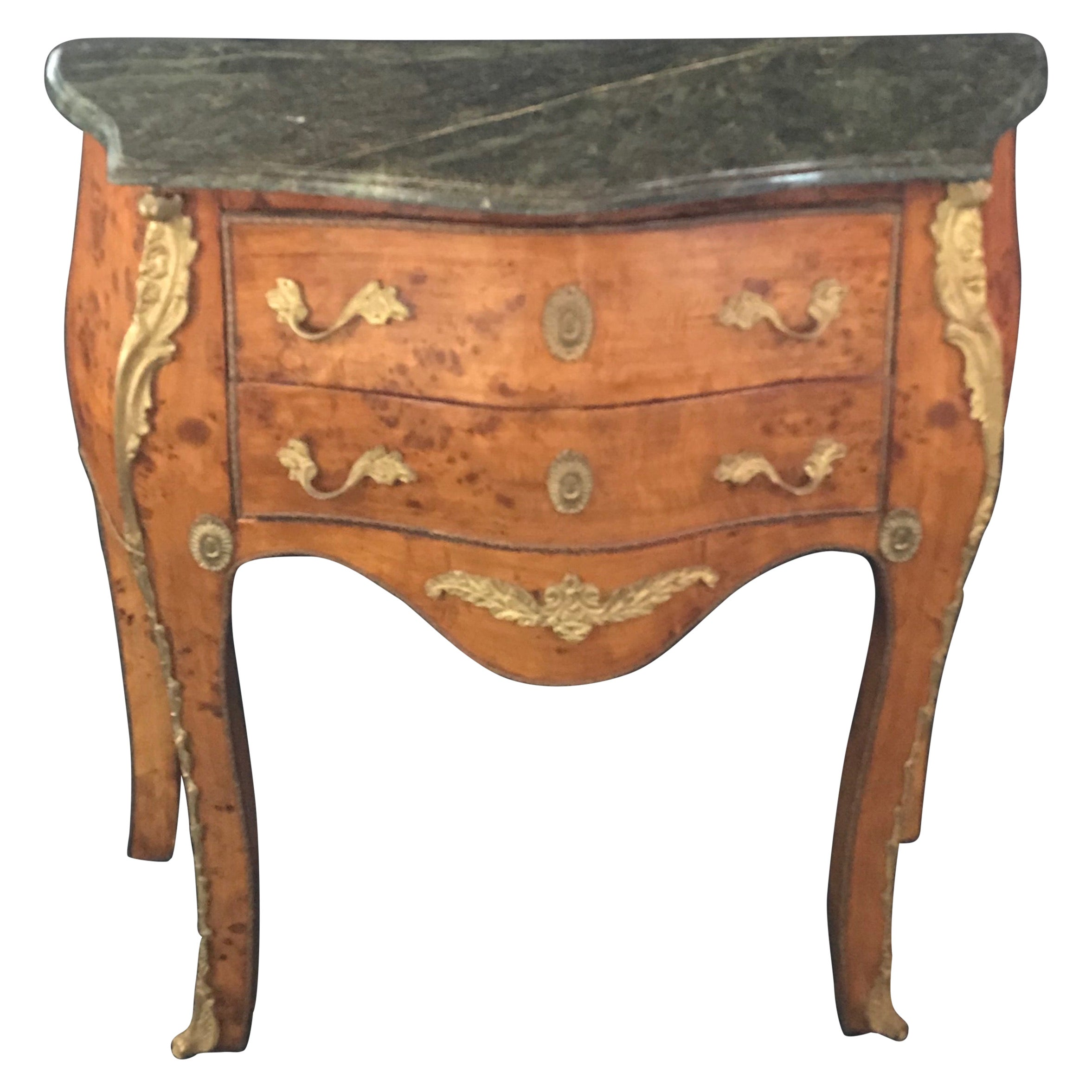 Beautiful Louis XV Petite Commode Nightstand or Side Table with Marble Top