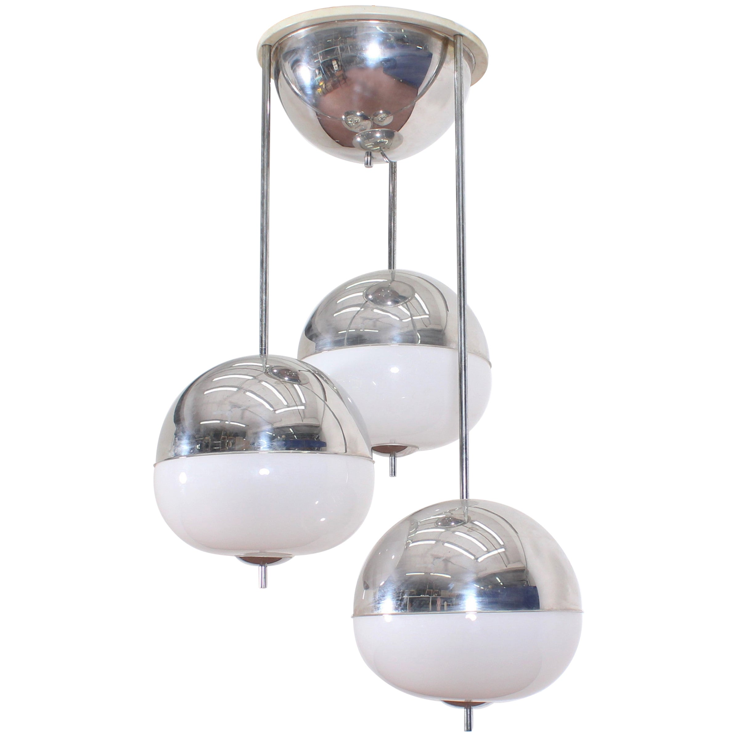Midcentury Reggiani Chromed Metal and Glass Suspension Chandelier, Italy, 1960s