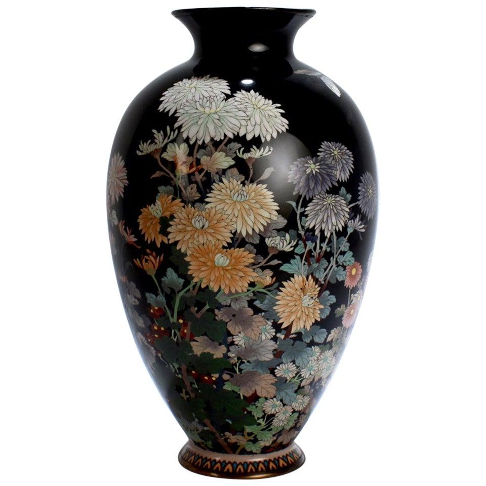 Antique Meiji Japanese Cloisonné Black Enamel Vase with Flowers and Butterflies
