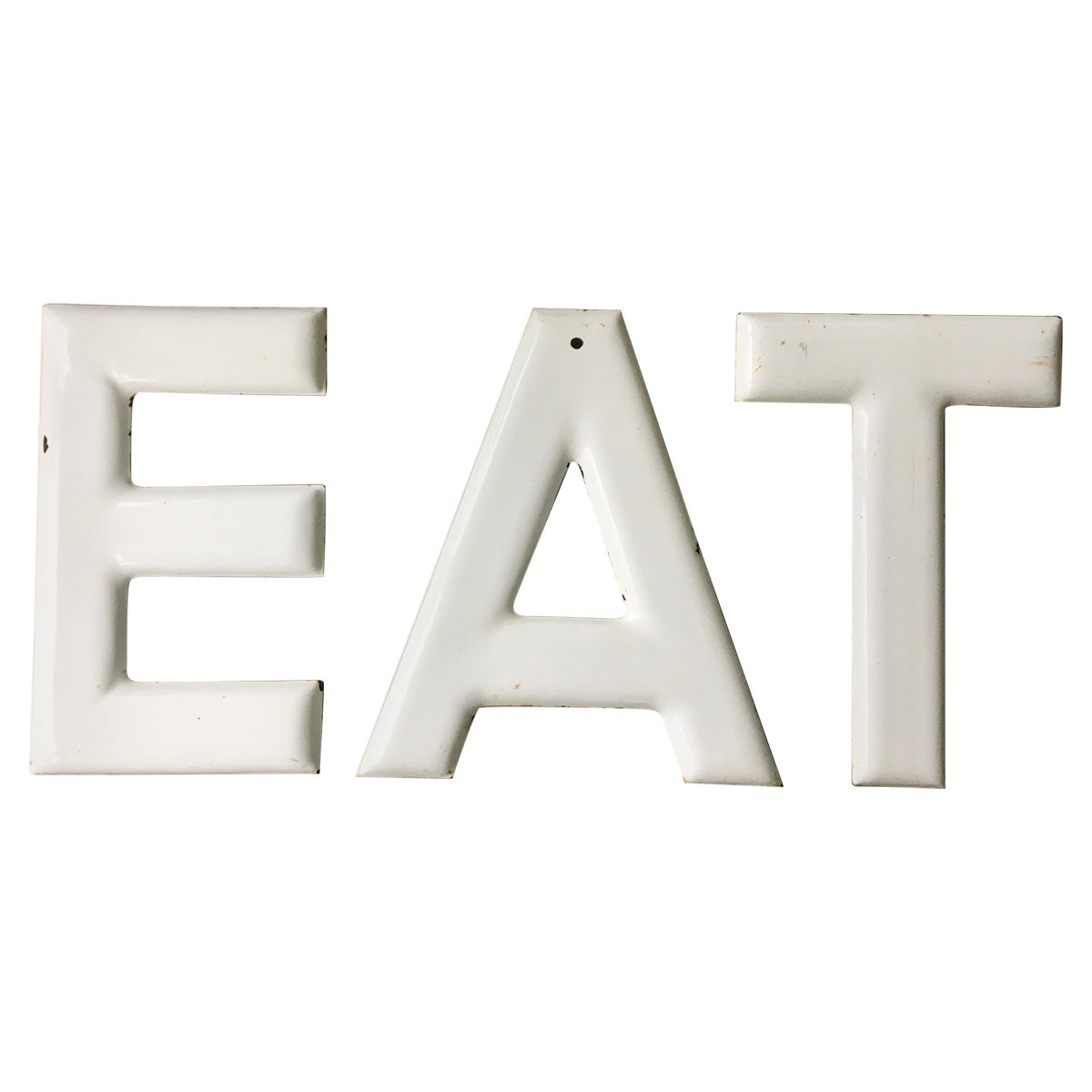 Eat or Tea Large Scale 1950s American Porcelain Enameled Steel Letters Sign