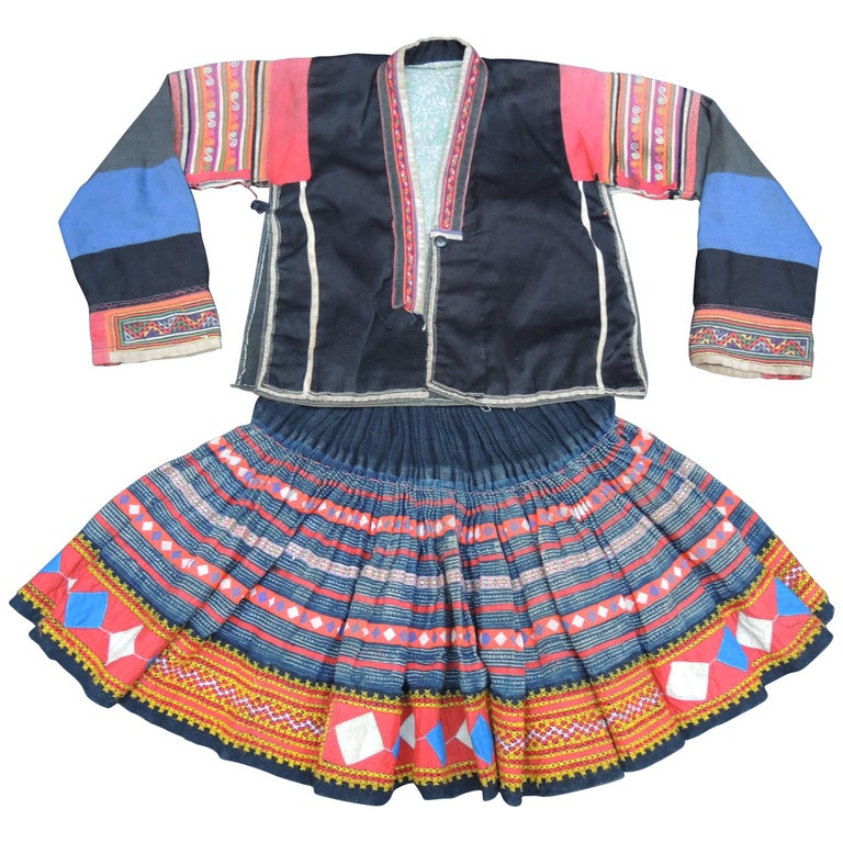 Early 20th Century Miao Embroidered Children's Jacket and Skirt