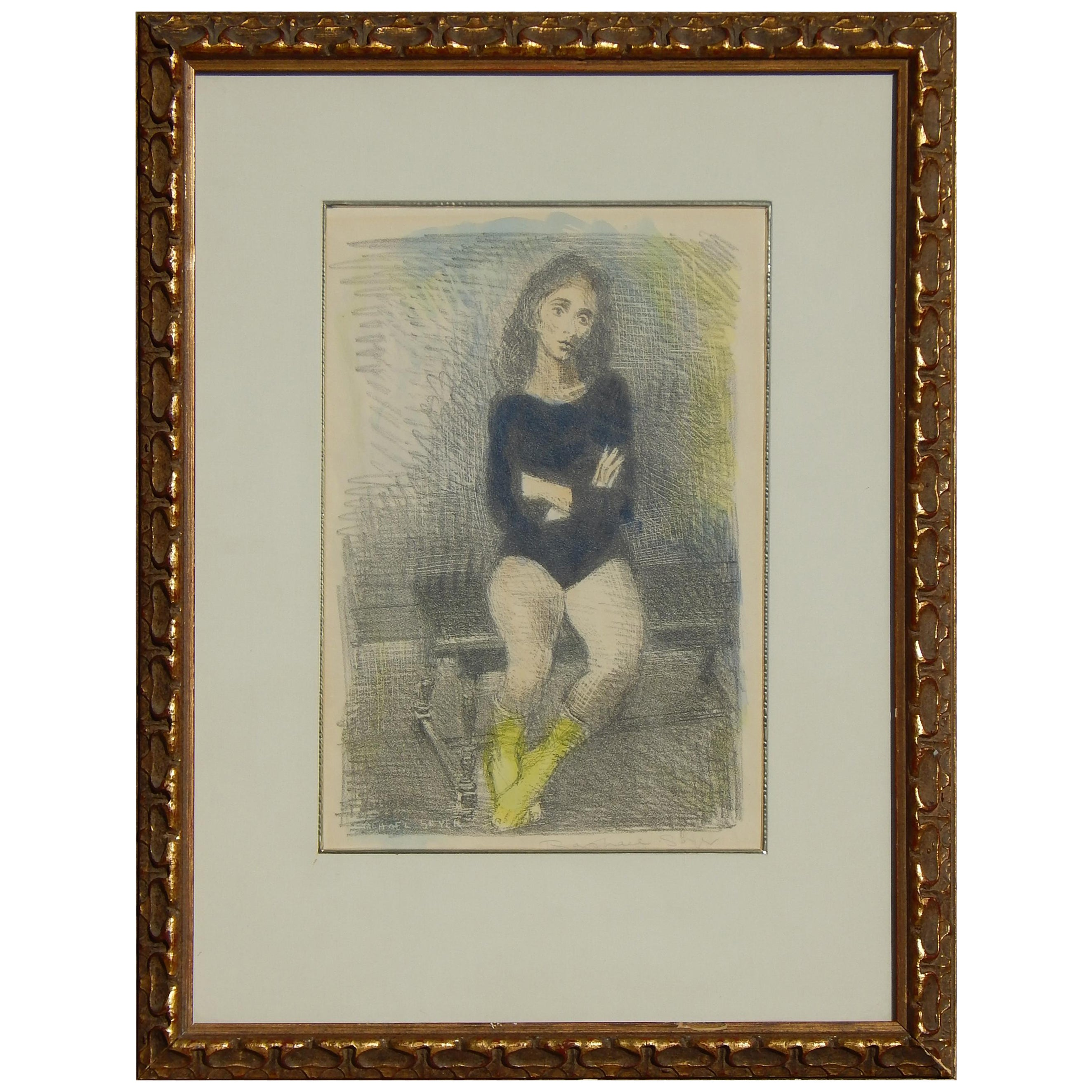 "Raphael Soyer Original Lithograph/Watercolor, 1955, ""The Dancer"""