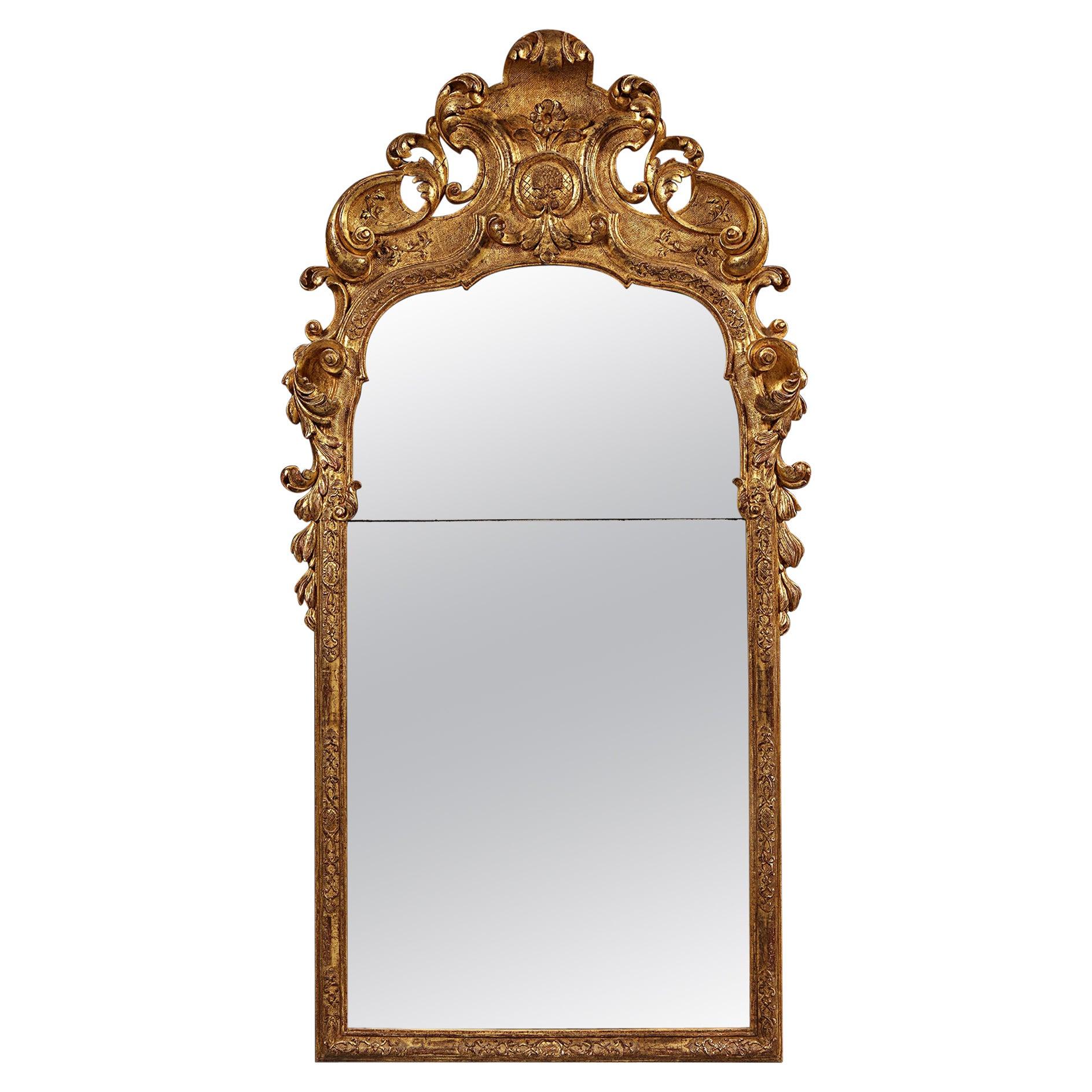 Early 18th Century German Giltwood Pier Mirror, Louis XIV Baroque Period