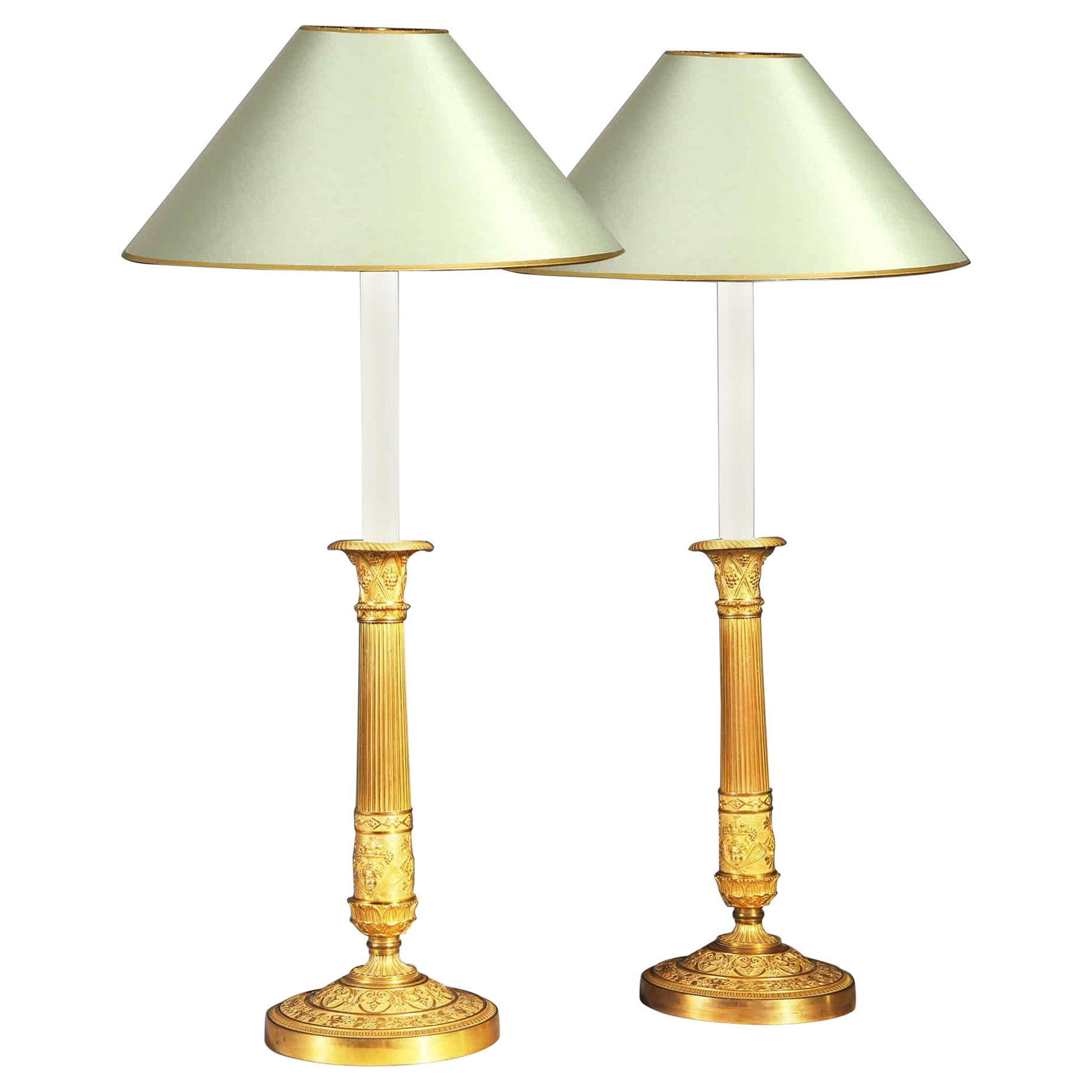 Pair of French Empire Candlesticks, Gilt Bronze Early 19th Century Desk Lamps