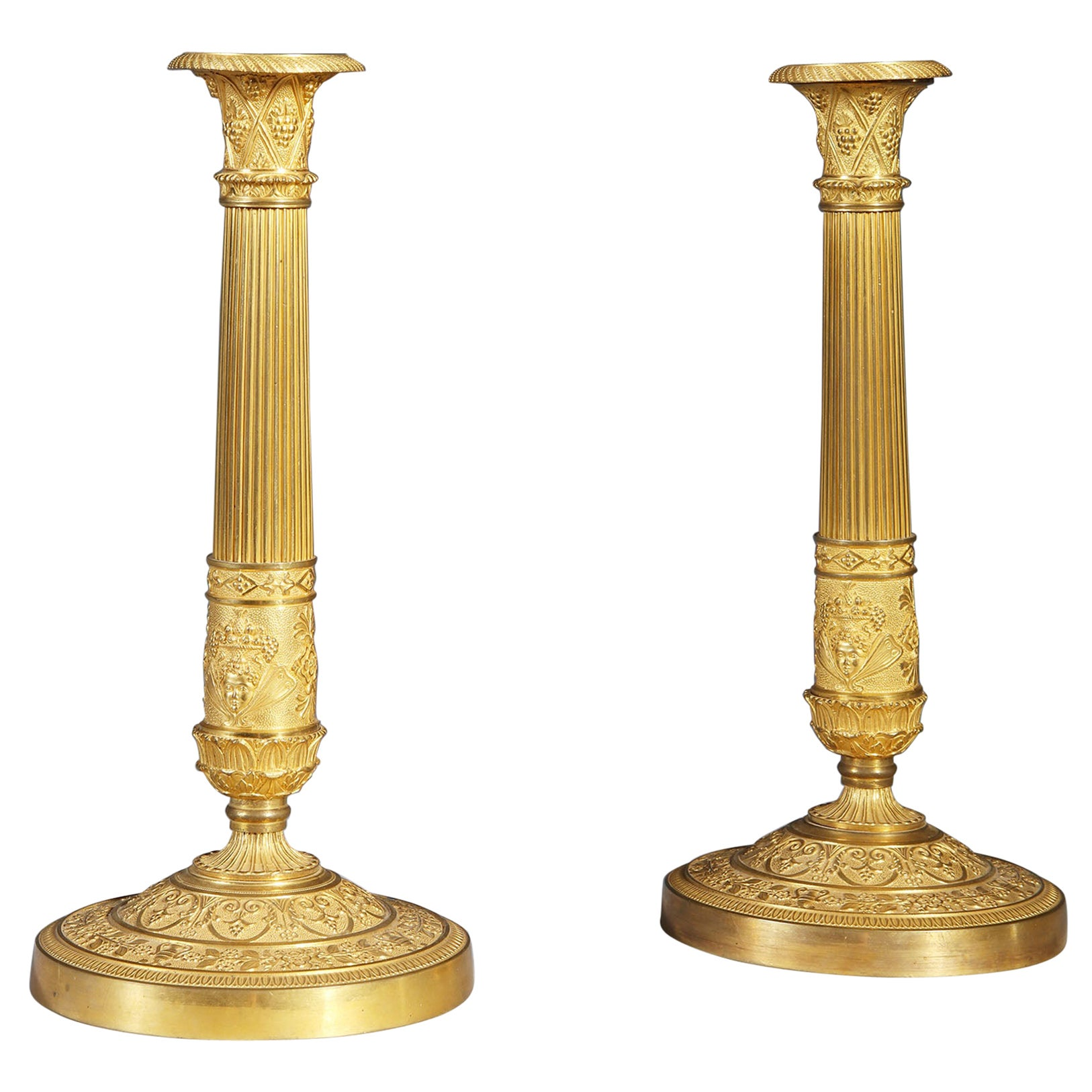 Pair of French Empire Candlesticks, Gilt Bronze, Early 19th Century