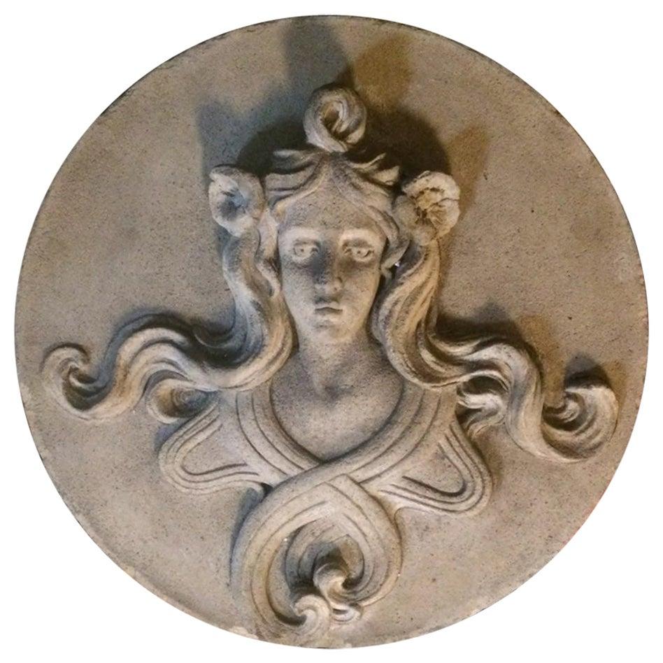 Antique French Art Nouveau Figural Woman Terracotta Building Relief, Sculpture