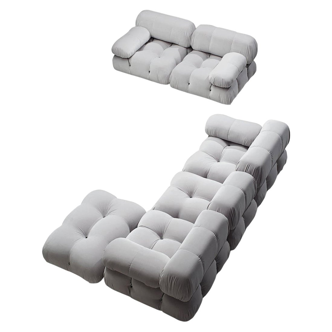 Mario Bellini Camaleonda Modular Sofa Reupholstered in Ice Grey Velvet