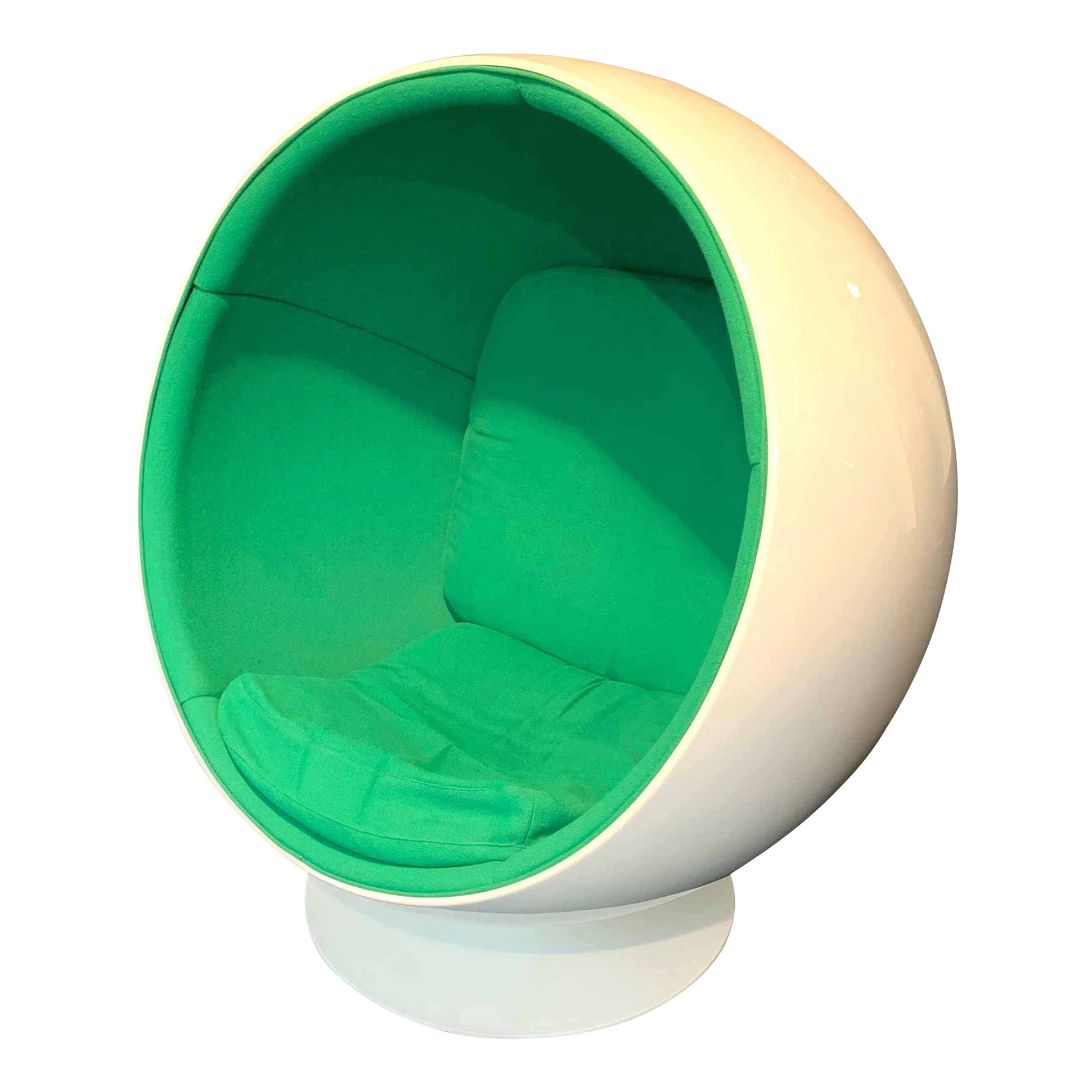 Space Age Ball Chair by Adelta, Eero Aarino, Green and White, Finland