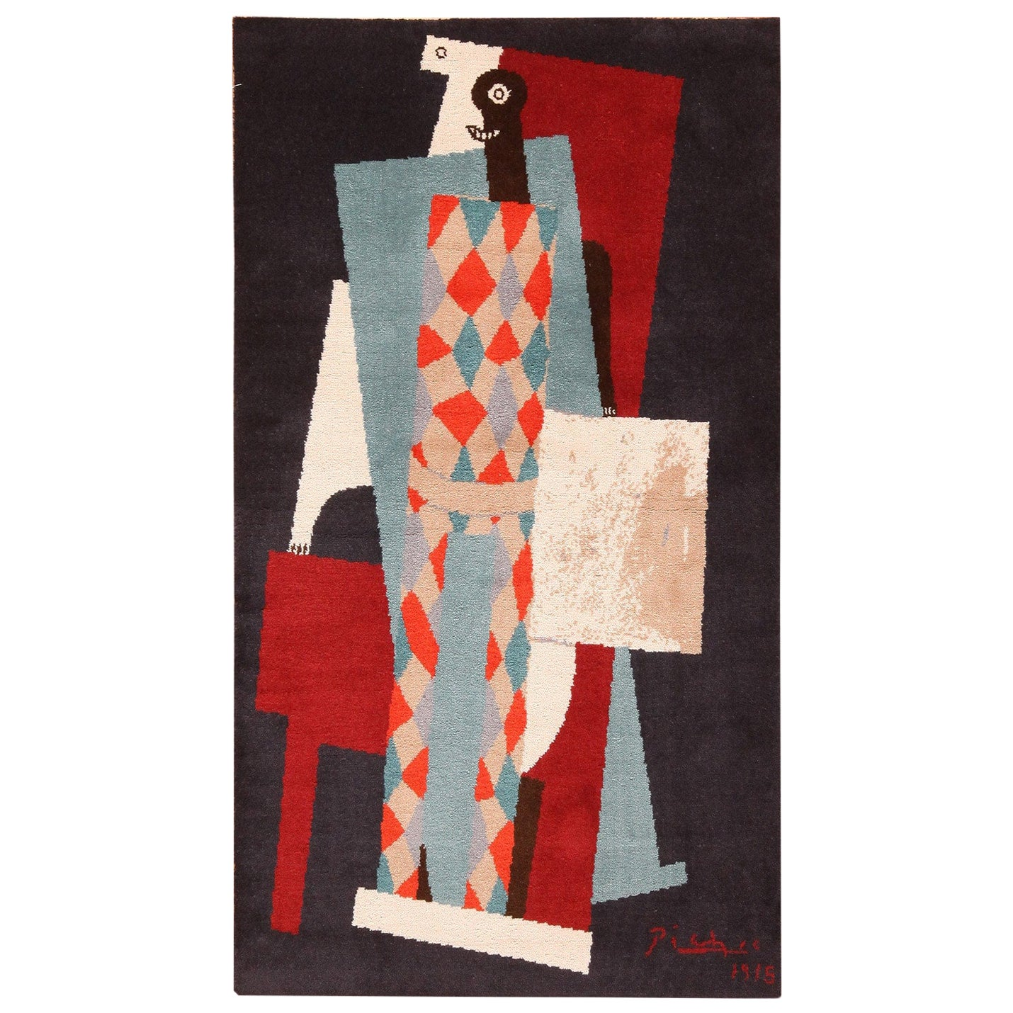 After Picasso Art Rug Vintage Scandinavian. Size: 3 ft 4 in x 5 ft 8 in
