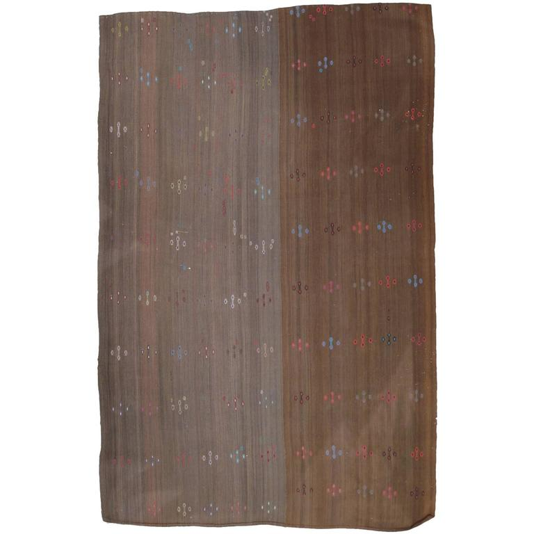 Brown Kilim with Colorful Motifs