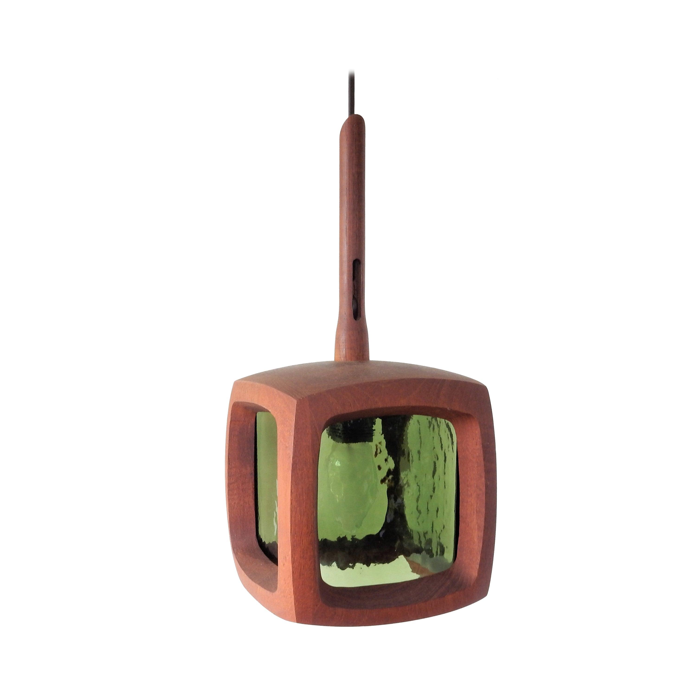 Teak and Green Glass Pendant Lamp, Sweden, 1960s