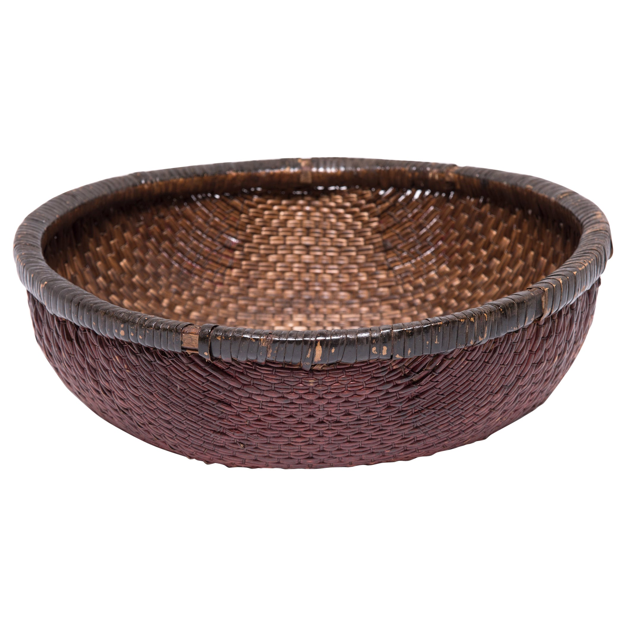 Early 20th Century Chinese Woven Field Basket