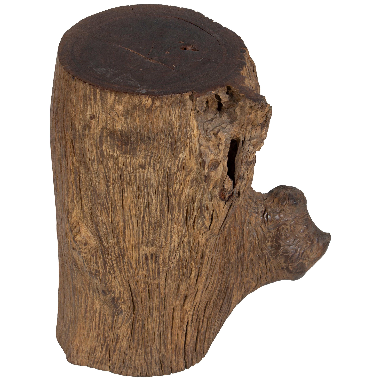 Organic Lychee Wood Stump Side Table