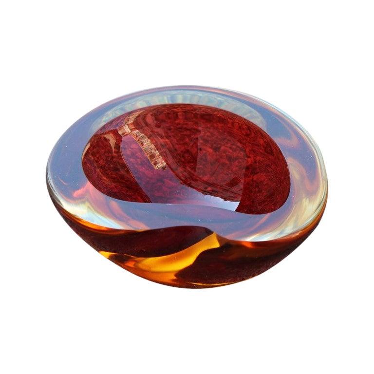 Seguso Red Ruby Bowl Ovoid Murano Glass Italian Design, 1960