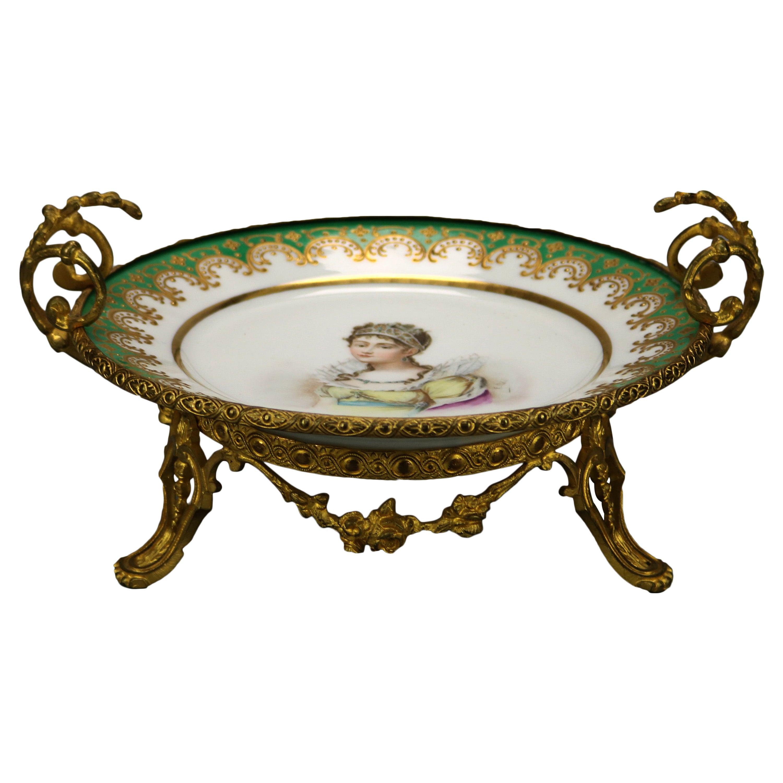 Antique French Sevres Porcelain Portrait Compote with Bronze Mounts, c1880