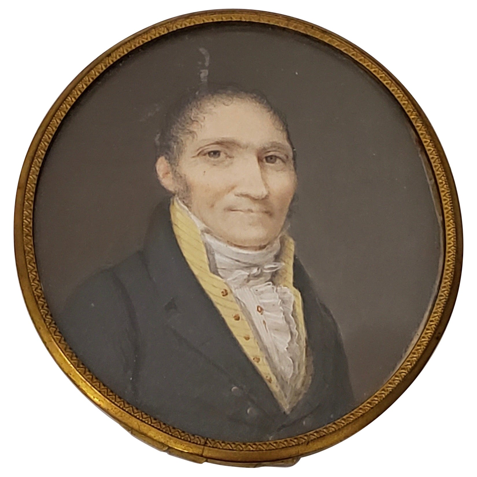 19th Century Portrait Miniature of a Man with a Yellow V-Neck Collar