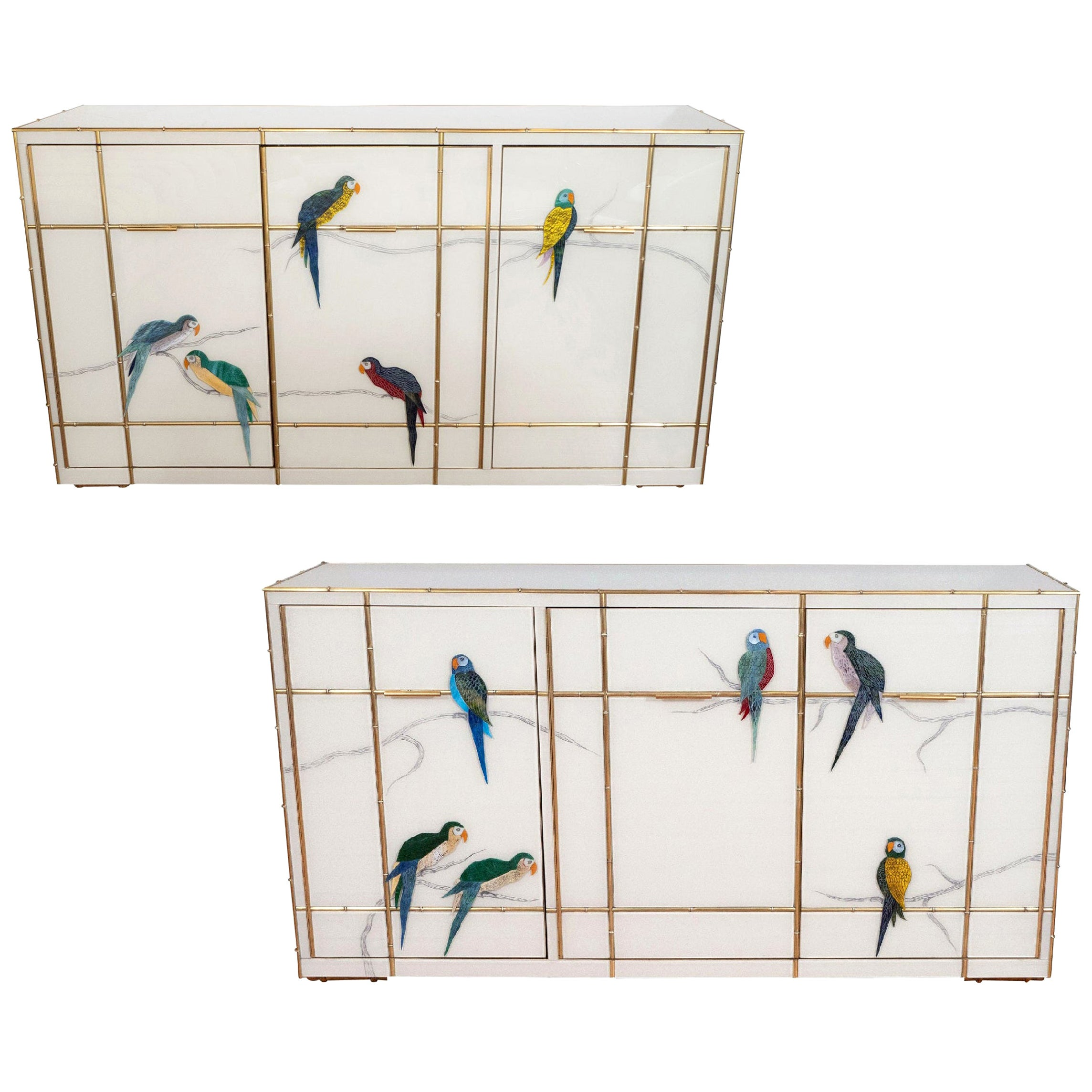 Pair of Custom Made Brass Bamboo Inlay and Murano Glass Parrot Sideboards, Italy