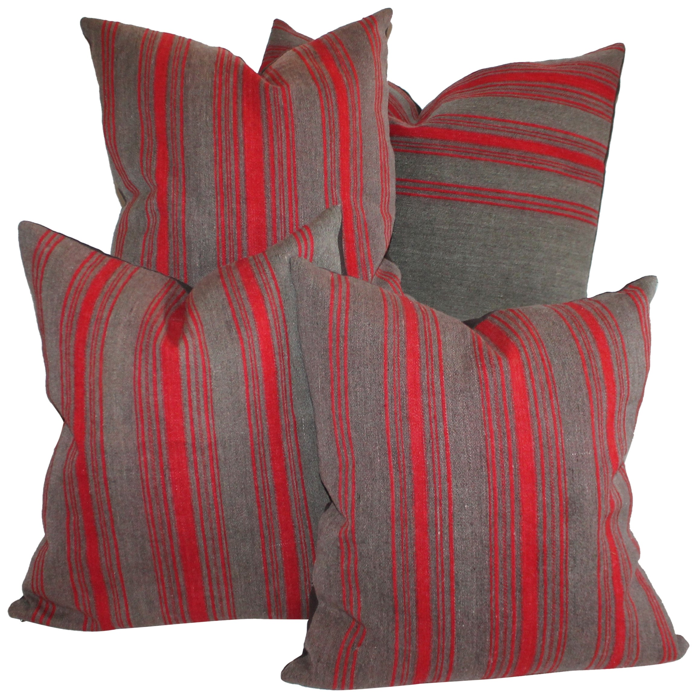 Collection of Red and Grey 19th Century Ticking Pillows