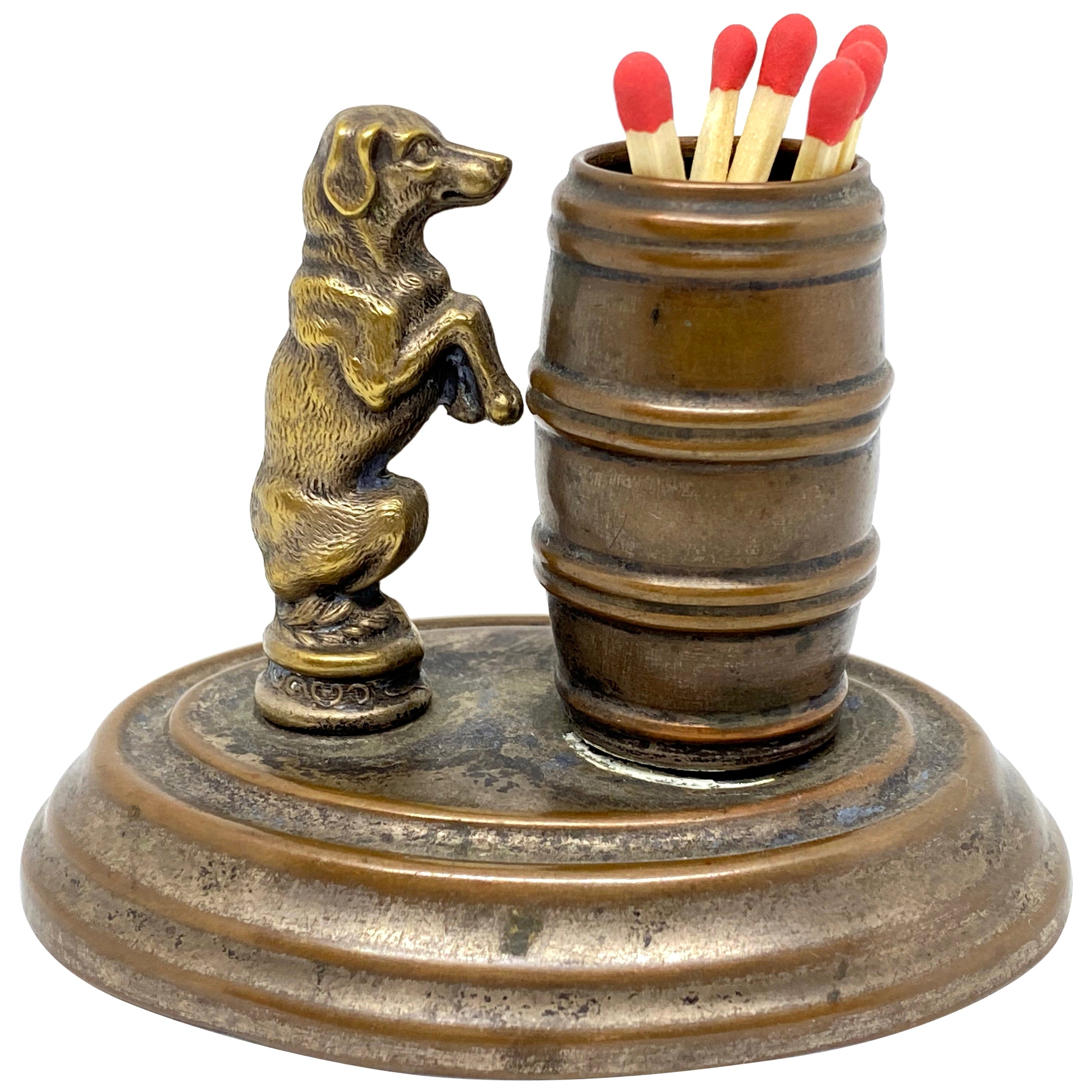 Beautiful Matchstick Holder Figure Dog with Barrel Antique, 1890s