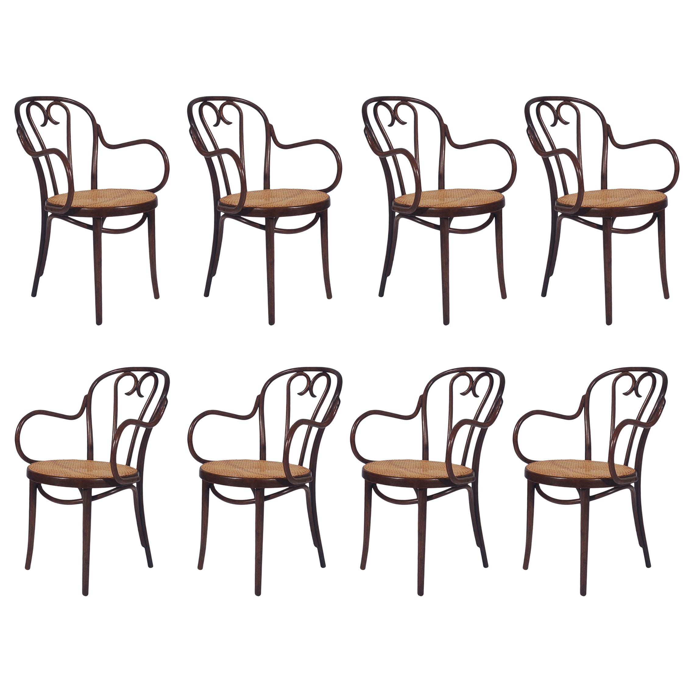 Vintage Set of Eight Bentwood and Cane Seat Armchair Dining Chairs by Thonet