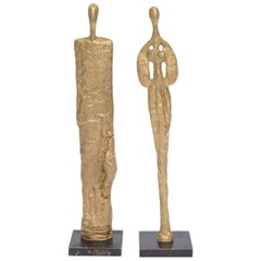 French Giacometti Style Vintage Molten Bronze Sculptures