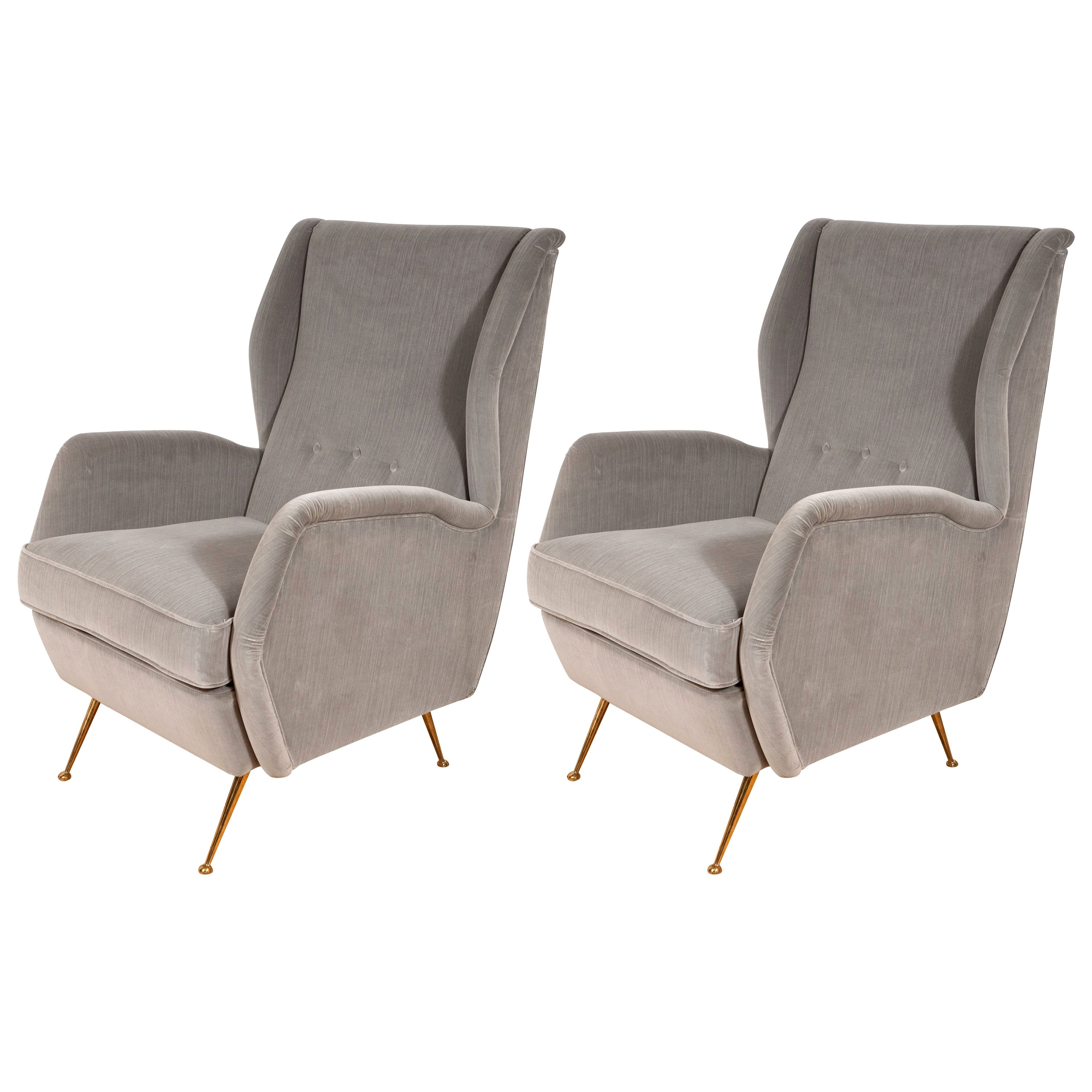 Pair of Custom Made Sculptural Lounge Chairs in Grey Velvet, Italy