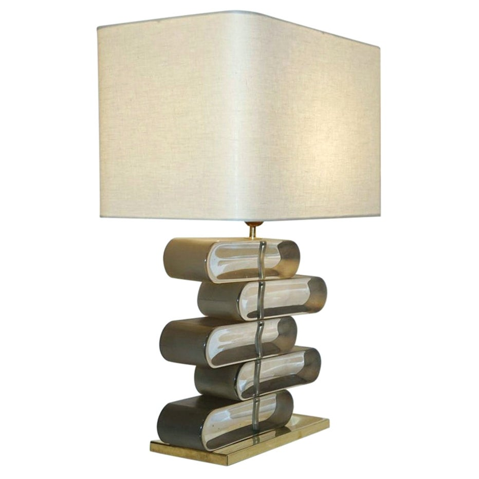 Italian Modern Brass and Bronze Murano Glass Architectural Table Lamp
