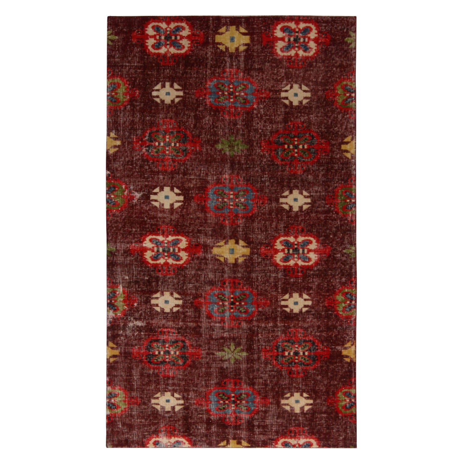 Vintage Midcentury Purple and Red Geometric Wool Rug with Multi-Color Accents