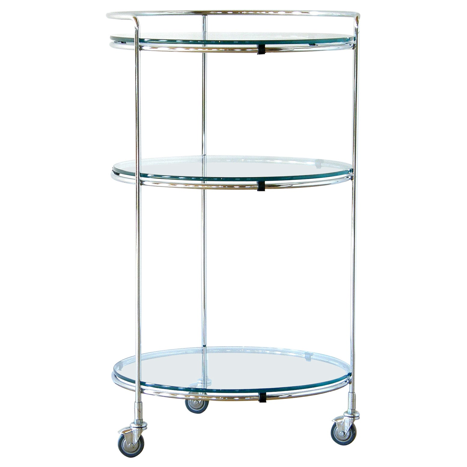 Round Chrome Rolling Cocktail Bar Serving Cart with Glass Shelves