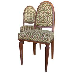 Pair of French Art Deco Side Chairs with Fluted Legs