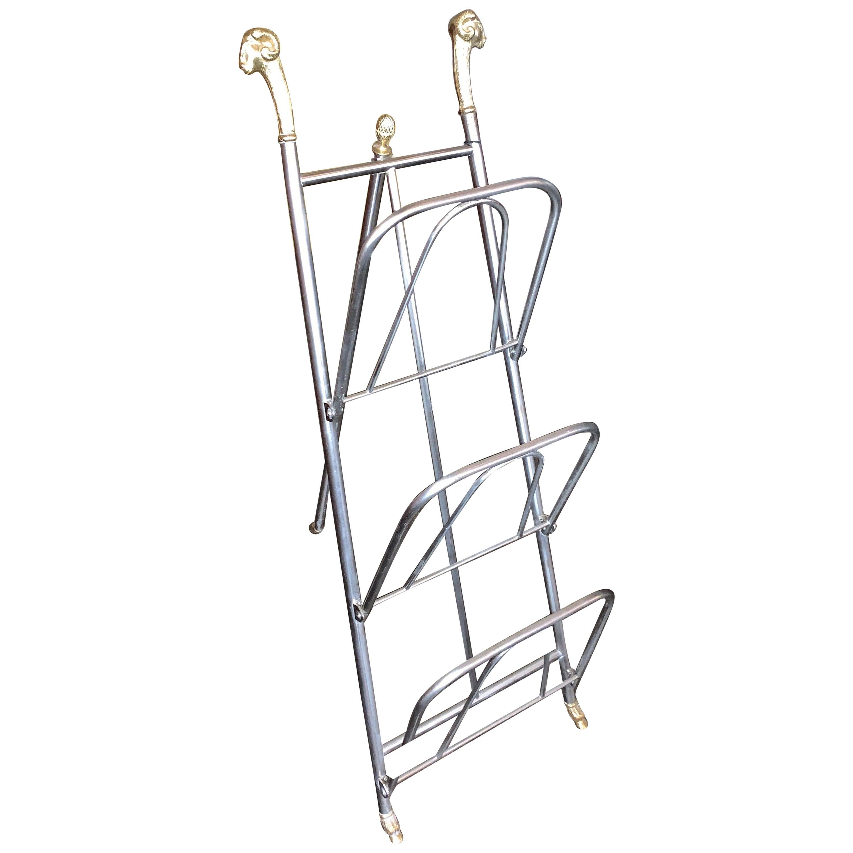 Italian Jansen Style Steel and Brass Magazine Stand