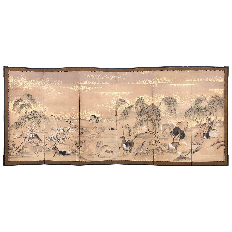Japanese 20 Horses Fine Antique Six-Panel Screen, Edo Period, 19th Century