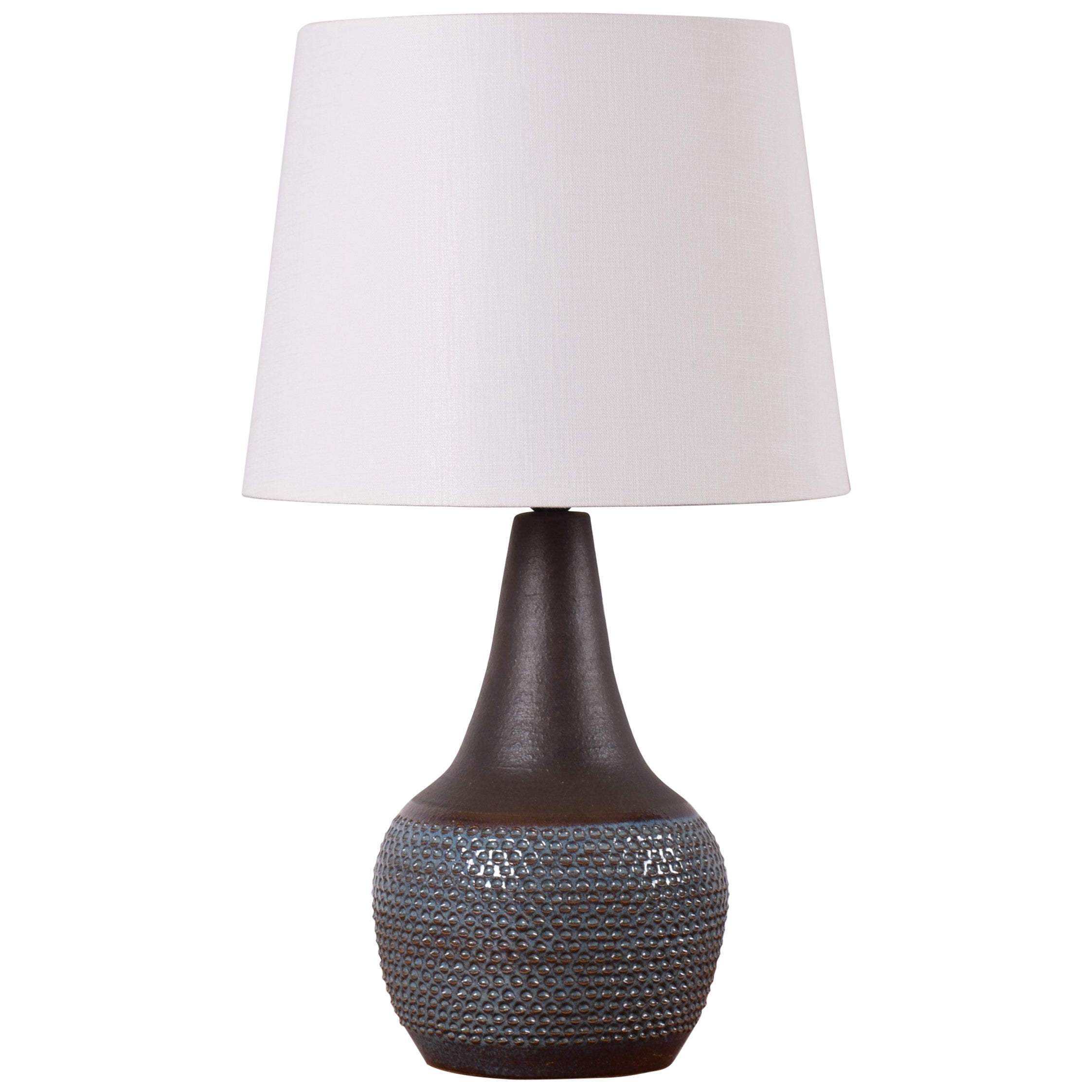 Danish Modern Søholm Blue Ceramic Table Lamp with Lampshade by Einar Johansen